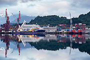Early morning mood at Kleven Yard, nearby Ulsteinvik, Norway |  Tidlig morgenstemning på Kleven Verft ved Ulsteinvik, Norge med Rem Poiner ved kai.
