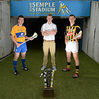12 September 2012; Bord Gáis Energy Ambassadors Conor McGrath, of Clare, left, and Cillian Buckley, of Kilkenny, right, with Bord Gáis Energy Ambassadors and Breaking Through Player of the Year Judge Joe Canning, Galway, were in Thurles today ahead of Saturday's Bord Gáis Energy GAA Hurling U-21 All-Ireland Final which will be played in Semple Stadium, Thurles. Clare play Kilkenny at 7pm in a repeat of the 2009 Final. The game is preceded by Roscommon against Kildare in the 'B' Final, which throws in at 5pm. Both games will be live on TG4. Semple Stadium, Thurles, Co. Tipperary. Picture credit: Matt Browne / SPORTSFILE *** NO REPRODUCTION FEE ***
