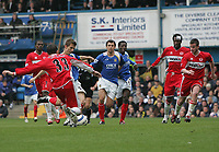 Photo: Lee Earle.<br /> Portsmouth v Middlesbrough. The Barclays Premiership. 15/04/2006. Pompey's Gary O'Neil (2ndL) scores the opening goal.