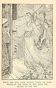 When She Had Come Within Three Or Four Paces Of The Door Of The Bath She Lifted Up The Veil from the book ' The Arabian nights' entertainments ' Test and Illustrations by Louis Rhead, Published  in New York by Harper & Brothers in 1916. In order to save her life, Sheherazade entertains the sultan by telling him wondrous stories