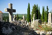 Stone cross, cemetery, Zrnovo, island of Korcula, Croatia