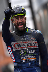 March 1, 2017 - Dour, BELGIUM - Belgian Guillaume Van Keirsbulck of Wanty-Groupe Gobert celebrates as he crosses the finish line to win the 49th edition of the Grand Prix du Samyn cycling race, Wednesday 01 March 2017. The race starts in Quaregnon and ends in Dour (202,6km). The Grand Prix du Samyn is also the first round of the Napoleon Games Cup. BELGA PHOTO DAVID STOCKMAN (Credit Image: © David Stockman/Belga via ZUMA Press)