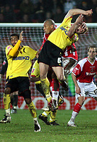 Photo: Mark Stephenson/Richard Lane Photography.<br /> Watford v Charlton Althetic. Coca Cola Championship. 19/01/2008. Watford's Jay Demerit has a hand put into his face