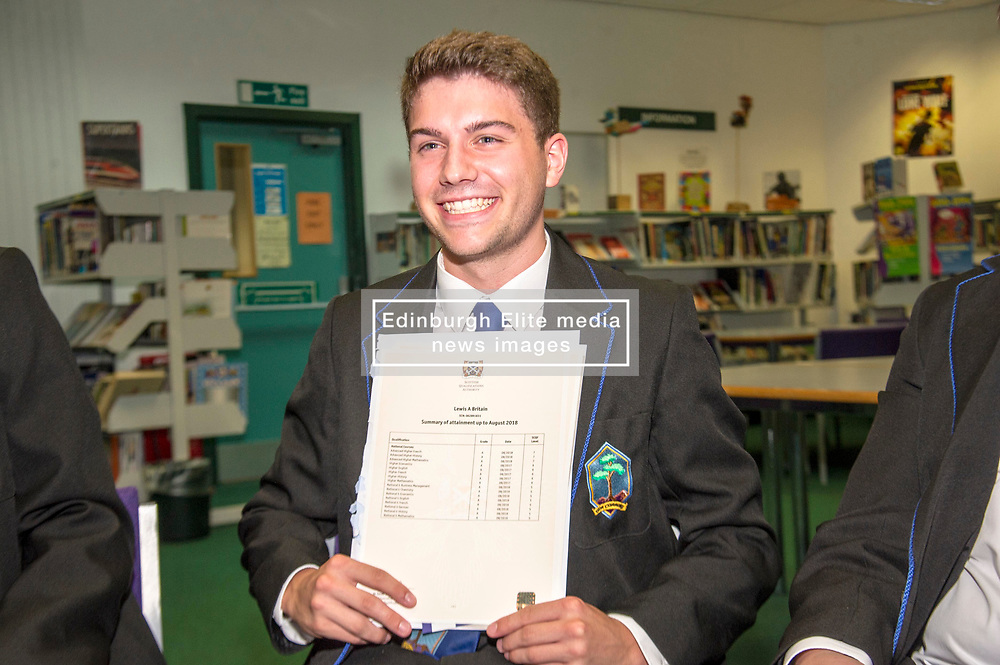 Pictured: hard to cmplain aboit Lewis Britain being so pleased.<br /> <br /> Education Secretary  John Swinney visited Firrhill School today and met students and parents as the results wer available for opening.<br /> <br /> <br /> Ger Harley | EEm 7 August 2018