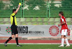 Dario Zahora (10) of Interblock gets a yellow card from referee Vojko Gorican at 7th Round of PrvaLiga Telekom Slovenije between NK Interblock vs NK Nafta Lendava, on September , 2008, in ZAK stadium in Ljubljana, Slovenia. Interblock won the match 3:1. (Photo by Vid Ponikvar / Sportal Images)