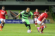 Keanu Marsh-Brown of Forest Green gets the better of Bristol City's Tyler Garratt during the The County Cup match between Forest Green Rovers and Bristol City at the New Lawn, Forest Green, United Kingdom on 23 November 2015. Photo by Shane Healey.