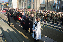 Residents of Barnsley turn out in force on Remembrance Sunday as Barnsley Marks the Centenary of the out break of World War I<br /> <br /> 09 November 2014<br /> <br /> Image © Paul David Drabble <br /> <br /> www.pauldaviddrabble.co.uk