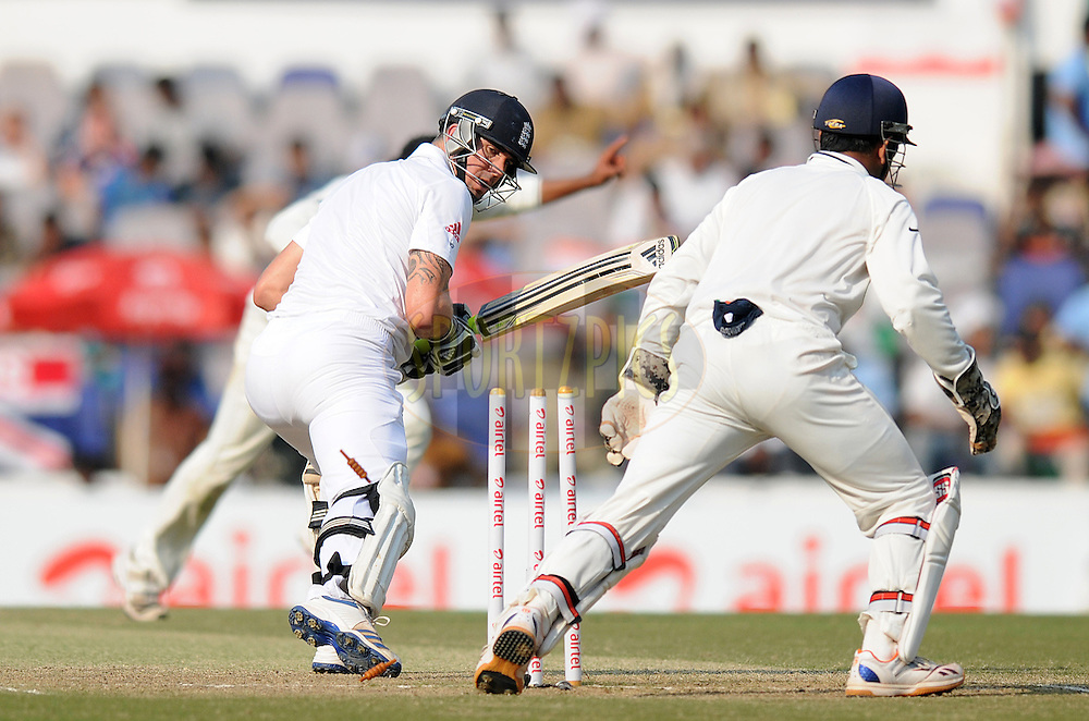 Kevin Pietersen of England looks on as he gets bowled out by Ravindra Jadeja of India during day four of the 4th Airtel Test Match between India and England held at VCA ground in Nagpur on the 16th December 2012..Photo by  Pal Pillai/BCCI/SPORTZPICS .