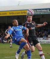 Photo: Tony Oudot/Richard Lane Photography. Gillingham v Shrewsbury Town. Coca-Cola Football League Two. 28/02/2009. <br /> Simeon Jackson of Gillingham holds off a challenge from Kelvin Langmead of Shrewsbury