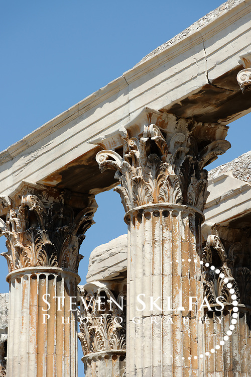 Close up view of the Corinthian capitals that crown the Pentelic marble columns of the Temple of Olympian Zeus (Olympieion), the largest temple in Greece which took nearly 700 years to complete.