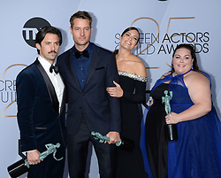 25th Annual Screen Actors Guild Awards - Press Room. 27 Jan 2019 Pictured: Milo Ventimiglia, Justin Hartley, Mandy Moore, Chrissy Metz. Photo credit: MEGA TheMegaAgency.com +1 888 505 6342