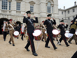 © licensed to London News Pictures. LONDON, UK.  06/06/11. The United States Army Band join with the Massed Bands and Corps of Drums of the Household Division to rehearse Beat Retreat at Horse Guards Parade. The event takes place on 8th and 9th June for featuring the US band the first time. The US visit comes two weeks after the State visit to London of the US President..  Photo credit should read Stephen Simpson/LNP