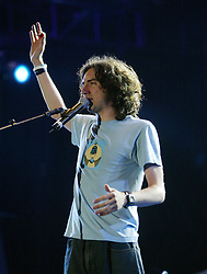 Gary Lightbody of Snow Patrol performs on stage..50,000 people filed into Murrayfield Stadium in Edinburgh, Scotland, on Wednesday July 6, 2005. The free gig, labelled Edinburgh 50,000 - The Final Push was the last of Bob Geldof's momentous Live 8 concerts..Pic ©2010 Michael Schofield. All Rights Reserved.