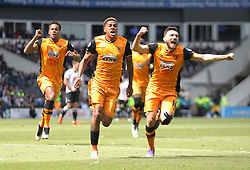 Abel Hernandez of Hull City (C) celebrates scoring his sides first goal - Mandatory by-line: Jack Phillips/JMP - 14/05/2016 - FOOTBALL - iPro Stadium - Derby, England - Derby County v Hull City - Sky Bet Championship Play-Off Semi-Final First-Leg