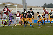 Northampton Town Striker John Marquis scores  during the Sky Bet League 2 match between Northampton Town and Cambridge United at Sixfields Stadium, Northampton, England on 12 March 2016. Photo by Dennis Goodwin.