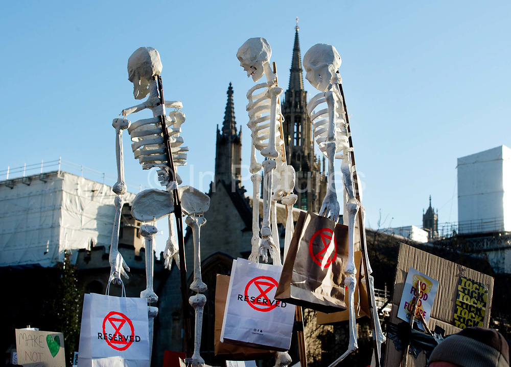 Global Climate Strike in Westminster, London, UK on November 29th 2019, young people take part in a Friday protest, part of a global youth strike to highlight the climate emergency. A skeleton with shopping bags, to draw attention to the destructive consumerism of Black Friday.