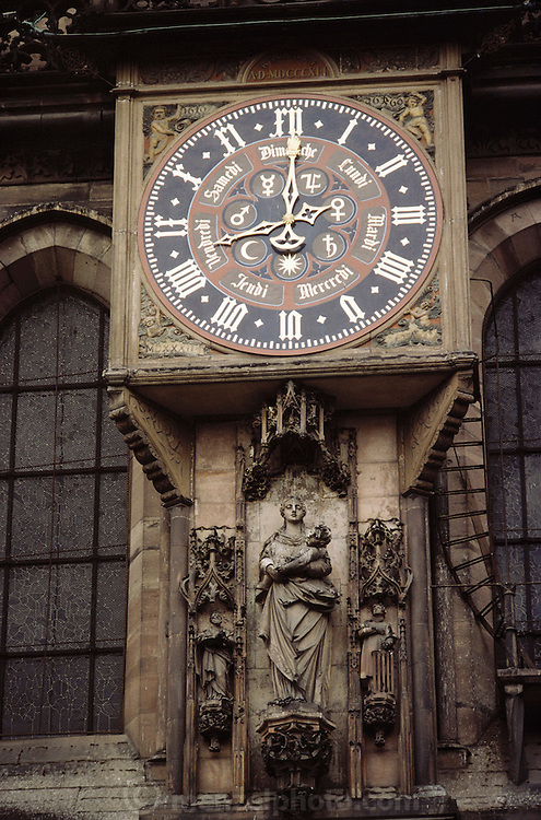 FRA_047_xs.Astrological clock on the cathedral at Strasbourg, France. .