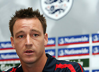 Photo: Chris Ratcliffe.<br />England Press Conference. 11/08/2006.<br />John Terry addresses the media as the new England captain.