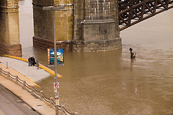 "Silly Tourists, Shoot the other way! Show the ""Captains Return"" Statue Underwater, Saint Louis MO, 100 Year Flood on the Mississippi River 19 March 2008. That photo they are in doesn't even come close to showing the real story here. Statue seems to be waving ""Help Me"" I'm drowning."
