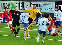 Fotball Herrer U-21 EM Kvalifisering 2013<br /> Marienlyst Stadion Gamle Gress  10.10.2013<br /> <br /> Strømsgodset vs Azerbaijan<br /> <br /> Resultat <br /> <br /> Foto: Robert Christensen Digitalsport<br /> <br /> Strømsgodset Bakenga misser på straffe<br /> <br /> Azerbaijan keeper Andriy Popovich jubler for redningen