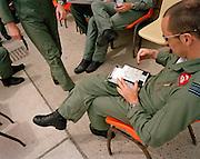 Squadron Leader Spike Jepson, leader of the Red Arrows, Britain's RAF aerobatic team memorises manoeuvres.