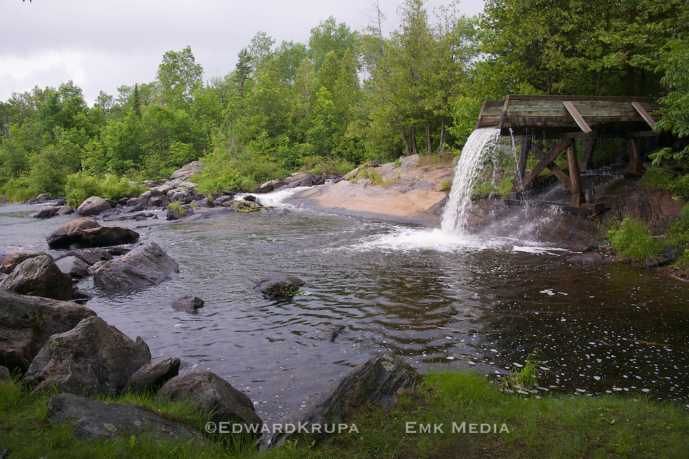 Historic log chute in Crooked Slide Park near Combermere, Ontario,Canada.
