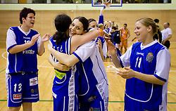 Tjasa Muhovic, Nika Baric, Anja Klavzar and Amadeja Cverlin of Celje celebrate at finals match of Slovenian 1st Women league between KK Hit Kranjska Gora and ZKK Merkur Celje, on May 14, 2009, in Arena Vitranc, Kranjska Gora, Slovenia. Merkur Celje won the third time and became Slovenian National Champion. (Photo by Vid Ponikvar / Sportida)