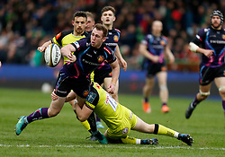 Leicester Tigers' George Worth and Exeter Chiefs' Max Bodilly during the Anglo-Welsh Cup Final at Twickenham Stoop, London.