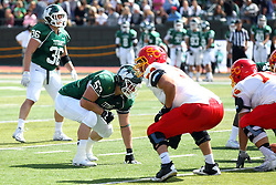 19 September 2015:  William Hargrove (53) during an NCAA division 3 football game between the Simpson College Storm and the Illinois Wesleyan Titans in Tucci Stadium on Wilder Field, Bloomington IL