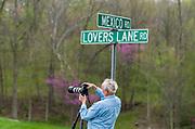 Gordon McLaughlin photographing, May, Indiana backroads, USA