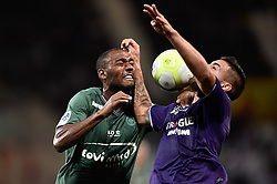 October 29, 2017 - Toulouse, France - Andy Delort of Toulouse FC battles with Theophile Catherine of St Etienne during French Ligue 1 action at Stadium Municipal. (Credit Image: © Panoramic via ZUMA Press)