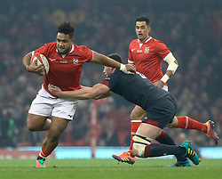Sione Vailanu of Tonga is tackled by Seb Davies of Wales<br /> <br /> Photographer Simon King/Replay Images<br /> <br /> Under Armour Series - Wales v Tonga - Saturday 17th November 2018 - Principality Stadium - Cardiff<br /> <br /> World Copyright © Replay Images . All rights reserved. info@replayimages.co.uk - http://replayimages.co.uk