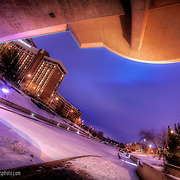 Under bridge on Plaza in Kansas City during winter