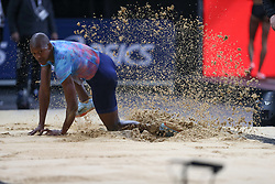 February 7, 2018 - Paris, Ile-de-France, France - Luvo Manyonga of  South Africa competes in long jump during the Athletics Indoor Meeting of Paris 2018, at AccorHotels Arena (Bercy) in Paris, France on February 7, 2018. (Credit Image: © Michel Stoupak/NurPhoto via ZUMA Press)