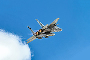 """Israeli Air Force (IAF) McDonnell Douglas F-15D in flight with a blue sky background .  Photographed at the  """"Blue-Flag"""" 2017, an international aerial training exercise hosted by the Israeli Air Force (IAF) at Ouvda airfield, Israel. November 2017"""