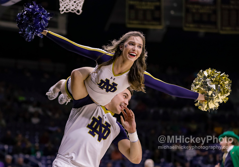 SOUTH BEND, IN - NOVEMBER 08: A Notre Dame Fighting Irish cheerleader is seen during the game against the Chicago State Cougars at Purcell Pavilion on November 8, 2018 in South Bend, Indiana. (Photo by Michael Hickey/Getty Images)