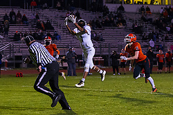 """23 April 2021: Normal Community Ironmen host Normal Community West Wildcats for the only playoff game of the shortened """"covid"""" spring football season."""