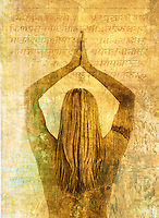 A woman seen from her back with her arms raised in yoga temple and ancient sacred overlays.