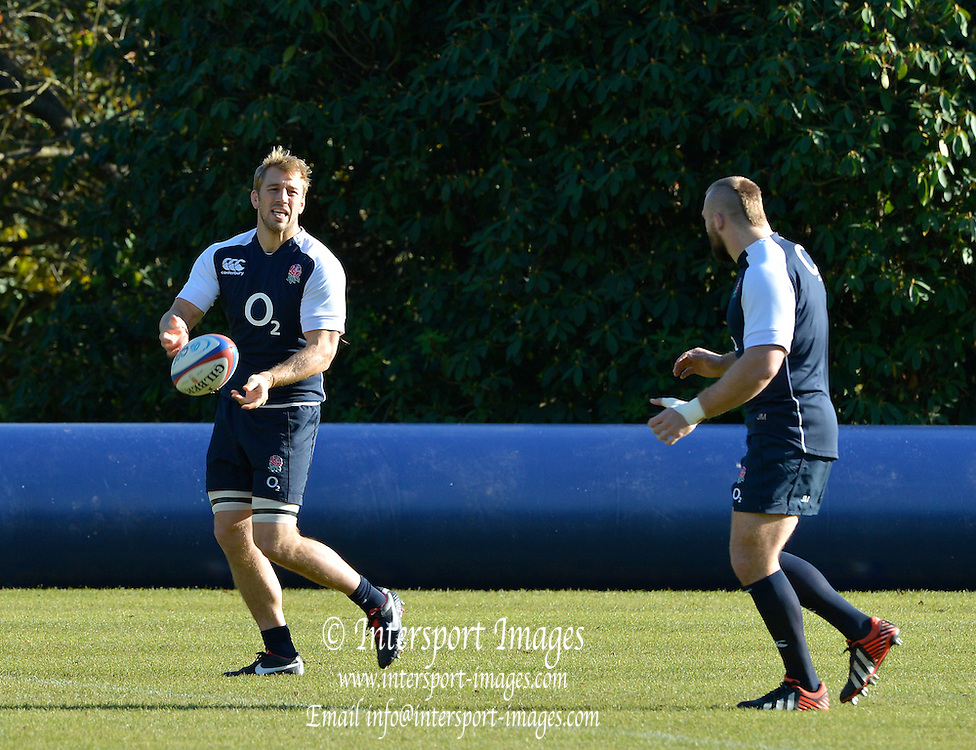 Pennyhill Park. Great Britain,  Left,  Chris ROBSHAW and Joe MARLAR, jogging and passing the ball before the start of the England squad training session at Pennyhill Park in preparation for the opening game of the 2012 Autumn International Series England vs Fiji, Thursday  08/11/2012  [Mandatory Credit. Peter Spurrier/Intersport Images]