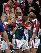 Leicester, England UK., 9th October 2004,  Zurich Premiership Rugby, Leicester Tigers vs Bath Rugby, Welford Road,<br /> [Mandatory Credit: Peter Spurrier/Intersport Images],<br /> Geordan Murphy id congratulated by team mates after scoring a second half try.