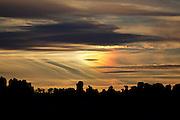 Rocky ridge silhouetted at sunset in Chiricahua National Monument, Arizona.
