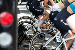 Trek-Segafredo riders warm up for Stage 2 of 2019 OVO Women's Tour, a 62.5 km road race starting and finishing in the Kent Cyclopark in Gravesend, United Kingdom on June 11, 2019. Photo by Balint Hamvas/velofocus.com