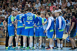 Players of Slovenia during handball game between Man National Teams of Slovenia and Hungary in 2019 Man's World Championship Qualification, on June 9, 2018 in Arena Bonifika, Ljubljana, Slovenia. Photo by Urban Urbanc / Sportida
