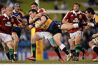 11 June 2013; Nathan Trist, Combined Country, is tackled by Alex Cuthbert, British & Irish Lions. British & Irish Lions Tour 2013, Combined Country v British & Irish Lions, Hunter Stadium, Newcastle, NSW, Australia. Picture credit: Stephen McCarthy / SPORTSFILE
