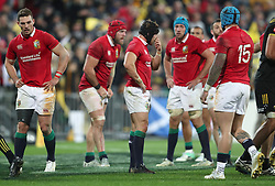 British and Irish Lions' Leigh Halfpenny (centre) after Hurricanes score a try during the tour match at the Westpac Stadium, Wellington.