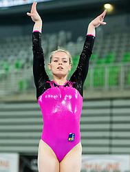 Teje Belak of Slovenia competes in Floor Exercise during Qualifications of Artistic Gymnastics World Cup Ljubljana, on April 8, 2016 in Arena Stozice, Ljubljana, Slovenia. Photo by Vid Ponikvar / Sportida