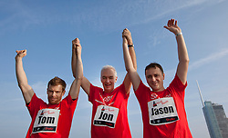 © Licensed to London News Pictures. 01/03/2012. LONDON, UK. Broadcaster Jon Snow and celebrity chefs Tom Aikens and Jason Atherton celebrate reaching the top of Tower 24 at Shelter's Vertical Rush, the UK's biggest tower running event in the City of London. Today (01/03/12) a host of celebrities joined 1,200 people to run up the 920 steps of Tower 42, raising £250,000 for housing charity Shelter. Now in its fourth year, the award-winning Vertical Rush will once again take place at London's original skyscraper, Tower 42.  Photo credit: Matt Cetti-Roberts/LNP© Licensed to London News Pictures. 01/03/2012. LONDON, UK. CAPTION HERE. Photo credit: Matt Cetti-Roberts/LNP