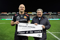 Exeter Chiefs Player of the Month Jack Yeandle with sponsor after the match - Mandatory byline: Patrick Khachfe/JMP - 07966 386802 - 10/11/2019 - RUGBY UNION - Sandy Park - Exeter, England - Exeter Chiefs v Bristol Bears - Gallagher Premiership