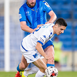 BRISBANE, AUSTRALIA - SEPTEMBER 20: Stefan Zinni of South Melbourne is fouled by Eoghan Murphy of Gold Coast City during the Westfield FFA Cup Quarter Final match between Gold Coast City and South Melbourne on September 20, 2017 in Brisbane, Australia. (Photo by Gold Coast City FC / Patrick Kearney)