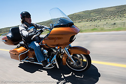 Wayne Schwetje of Sedona, AZ and member of the Yavapai HOG Chapter on his 2015 Road Glide Special riding from Steamboat Springs, Colorado, to Baggs, Wyoming during the Rocky Mountain Regional HOG Rally, USA. Friday June 9, 2017. Photography ©2017 Michael Lichter.